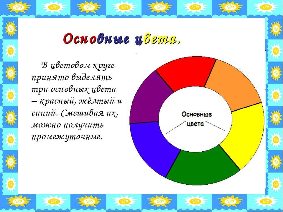 Основные цвета. В цветовом круге принято выделять три основных цвета – красны...