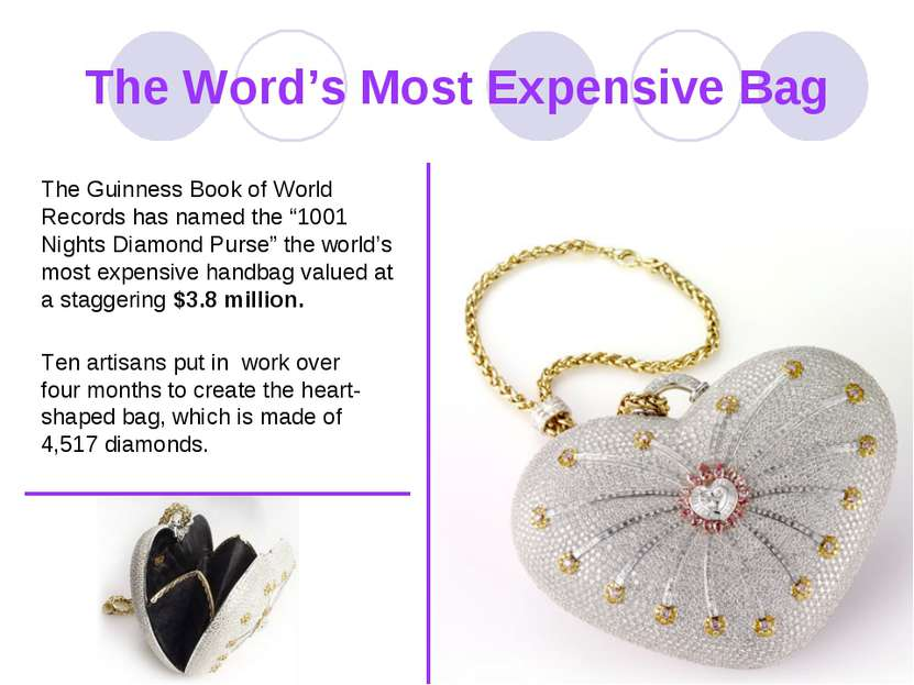 The Word's Most Expensive Bag The Guinness Book of World Records has named th...