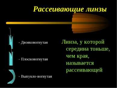 Рассеивающие линзы - Двояковогнутая - Плосковогнутая - Выпукло-вогнутая Линза...