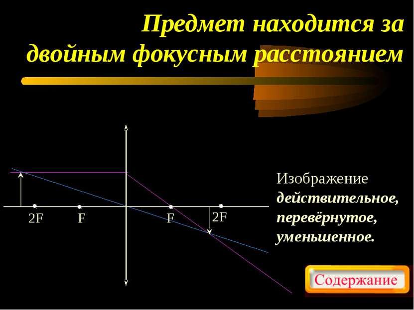 Предмет находится за двойным фокусным расстоянием Изображение действительное,...