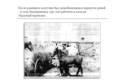После ранения и контузии был демобилизован и вернулся домой – в село Екатерин...