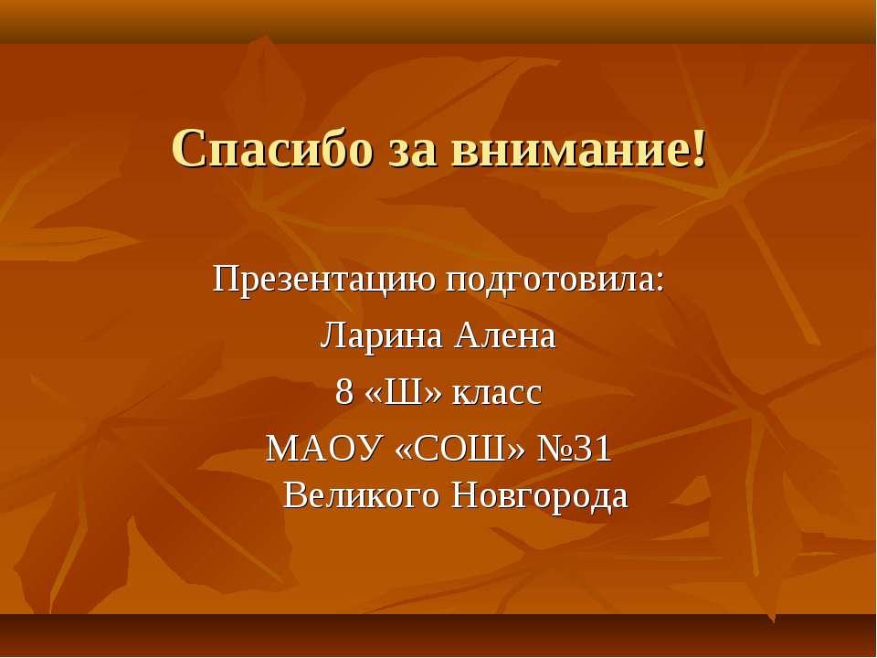 Спасибо за внимание! Презентацию подготовила: Ларина Алена 8 «Ш» класс МАОУ «...