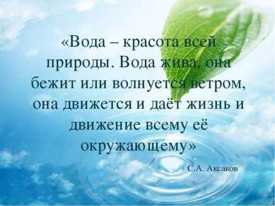 «Вода – красота всей природы. Вода жива, она бежит или волнуется ветром, она ...