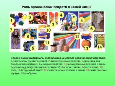 Роль органических веществ в нашей жизни Современные материалы и продукты на о...