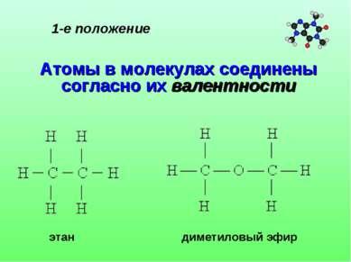 1-е положение Атомы в молекулах соединены согласно их валентности этан димети...