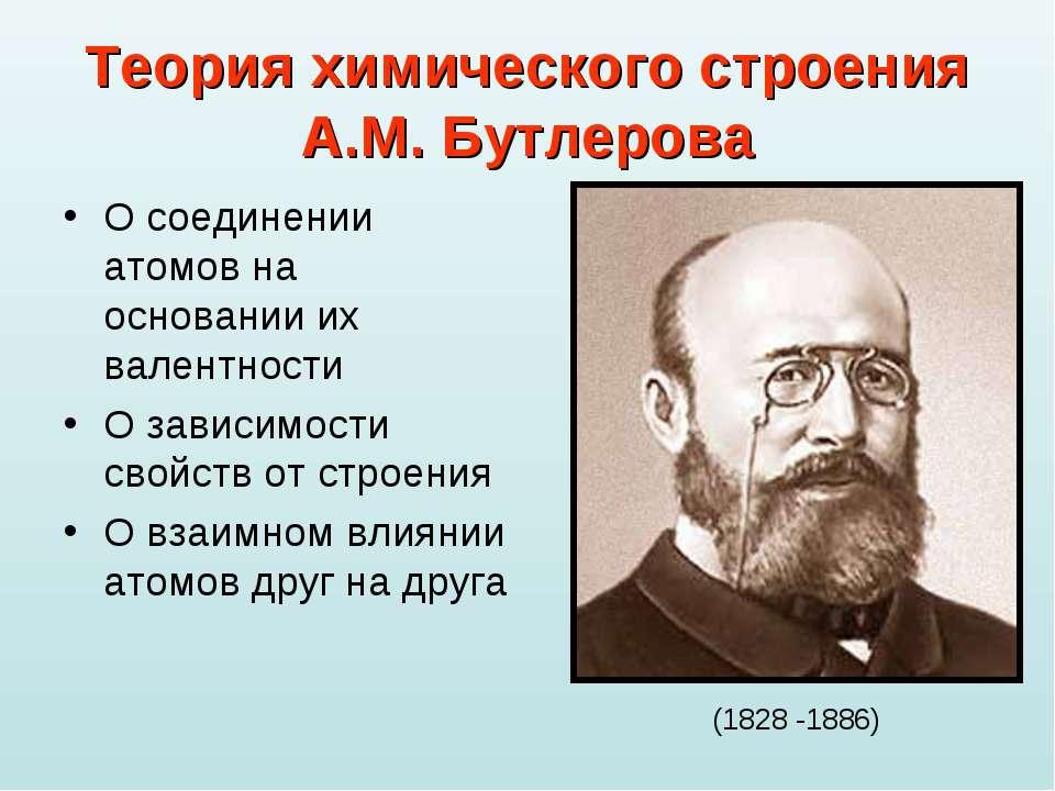 Теория химического строения А.М. Бутлерова О соединении атомов на основании и...
