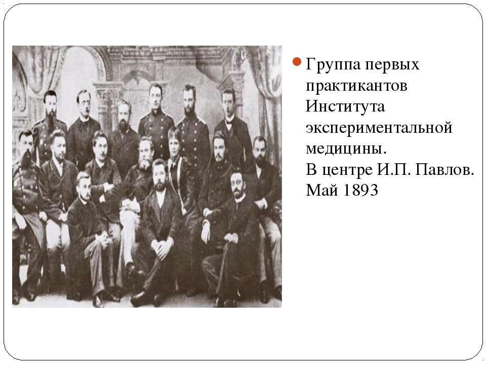 Группа первых практикантов Института экспериментальной медицины. В центре И.П...