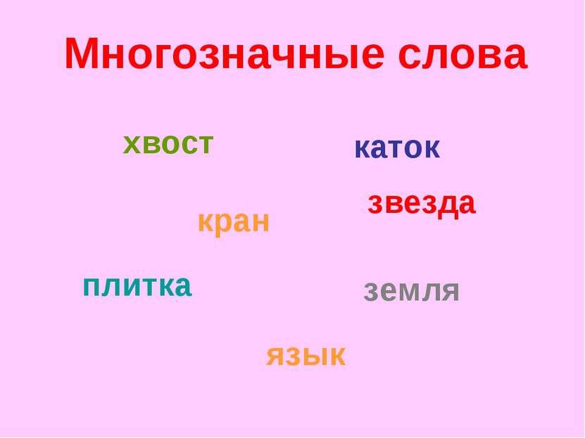 кран хвост каток звезда плитка земля язык Многозначные слова