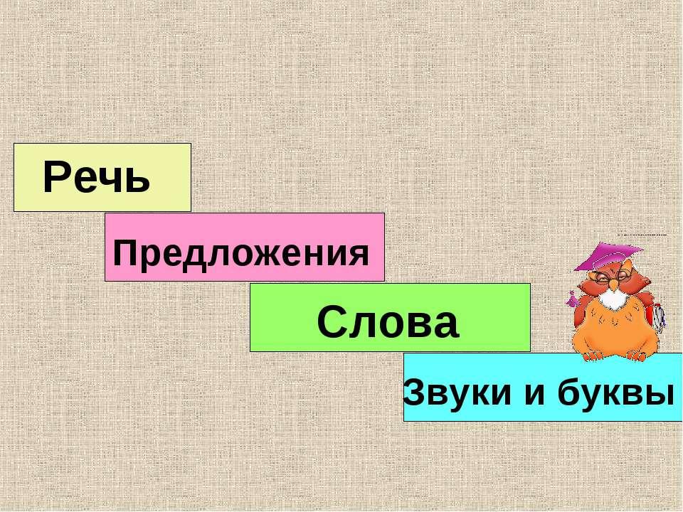 Звуки и буквы Слова Предложения Речь