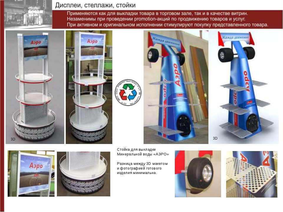 Стойка для выкладки Минеральной воды «АЭРО» Разница между 3D макетом и фотогр...