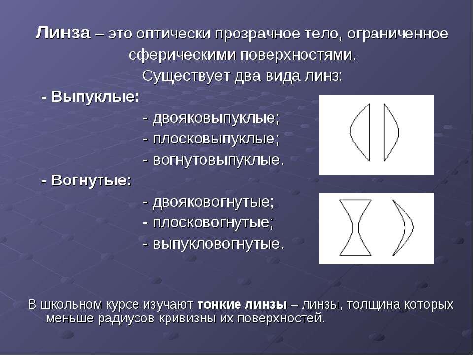 Линза – это оптически прозрачное тело, ограниченное сферическими поверхностям...