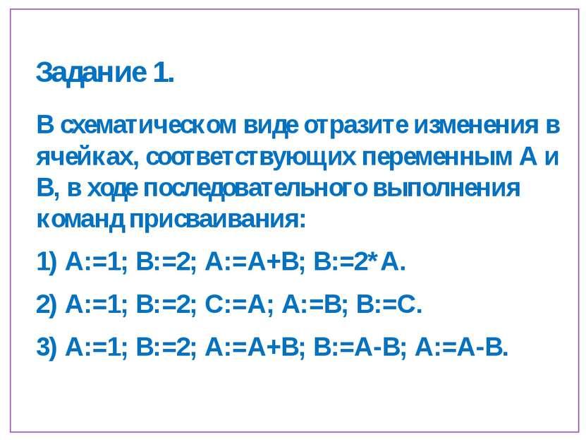 Задание 1. В схематическом виде отразите изменения в ячейках, соответствующих...