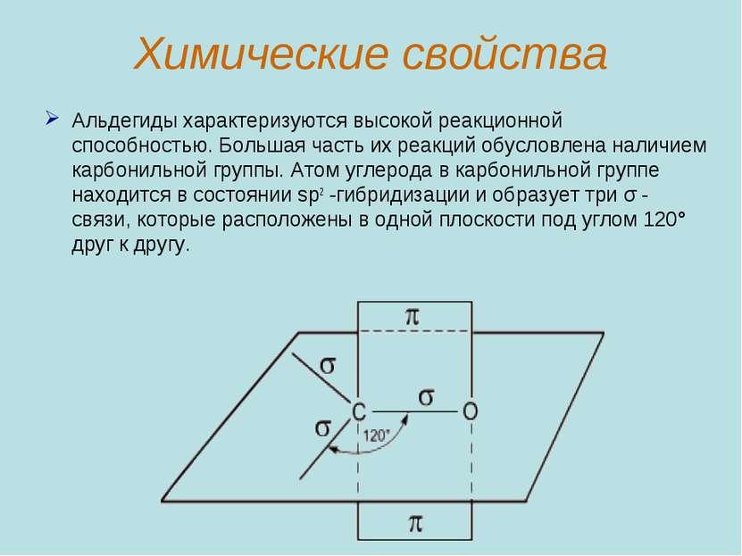 Химические свойства Альдегиды характеризуются высокой реакционной способность...