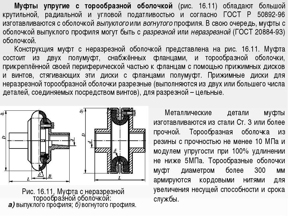 Муфты упругие с торообразной оболочкой (рис. 16.11) обладают большой крутильн...