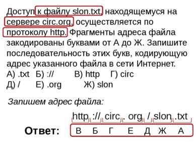 Доступ к файлу slon.txt, находящемуся на сервере circ.org, осуществляется по ...