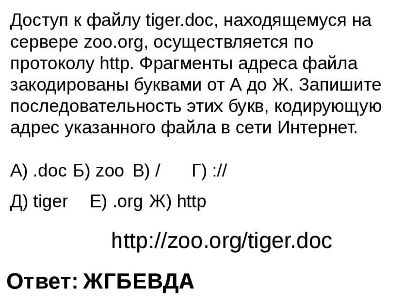 Доступ к файлу tiger.doc, находящемуся на сервере zoo.org, осуществляется по ...