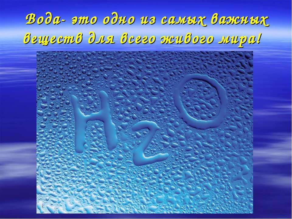 Вода- это одно из самых важных веществ для всего живого мира!