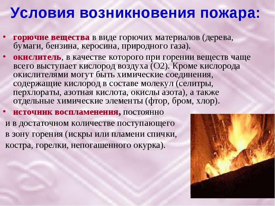 Условия возникновения пожара: горючие вещества в виде горючих материалов (дер...