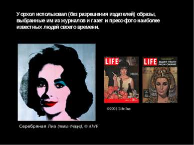 Уорхол использовал (без разрешения издателей) образы, выбранные им из журнало...