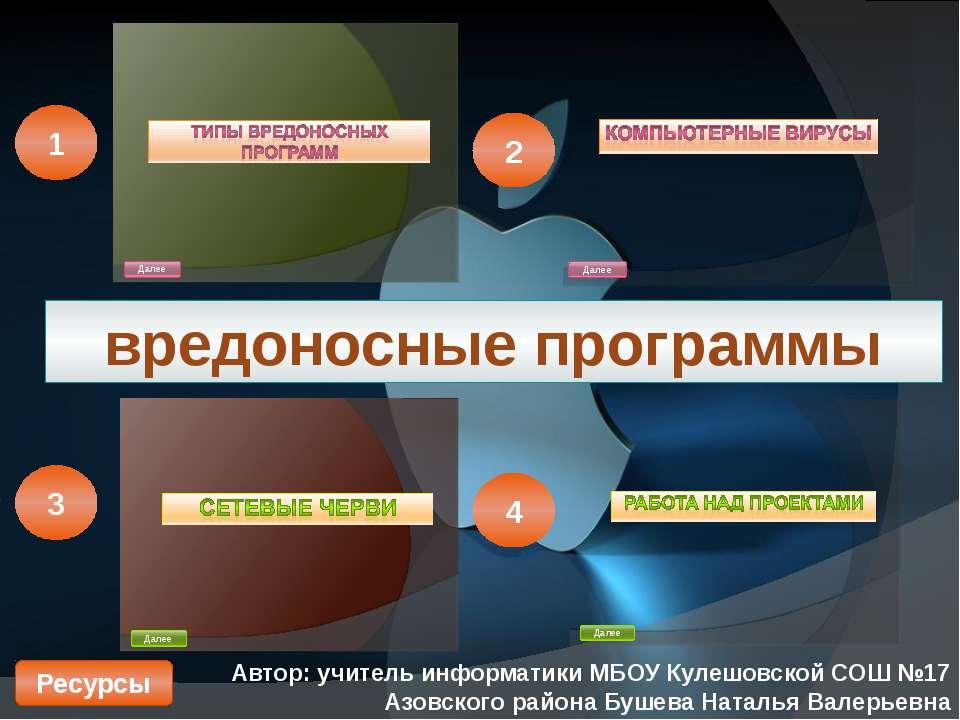 вредоносные программы Автор: учитель информатики МБОУ Кулешовской СОШ №17 Азо...