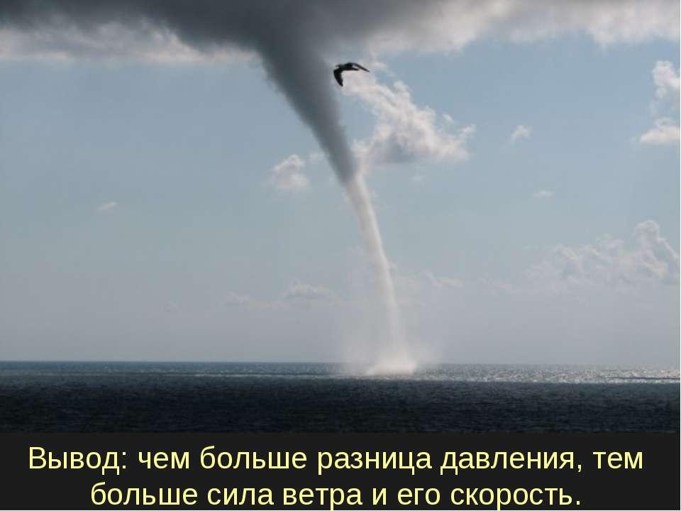 Вывод: чем больше разница давления, тем больше сила ветра и его скорость.