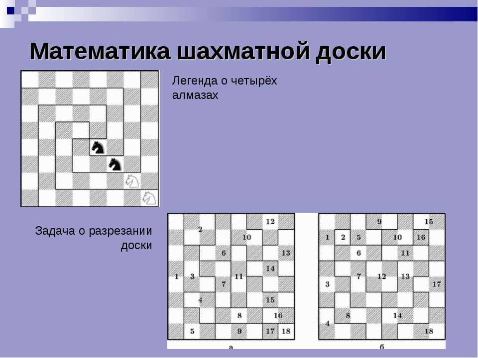 Математика шахматной доски Легенда о четырёх алмазах Задача о разрезании доски