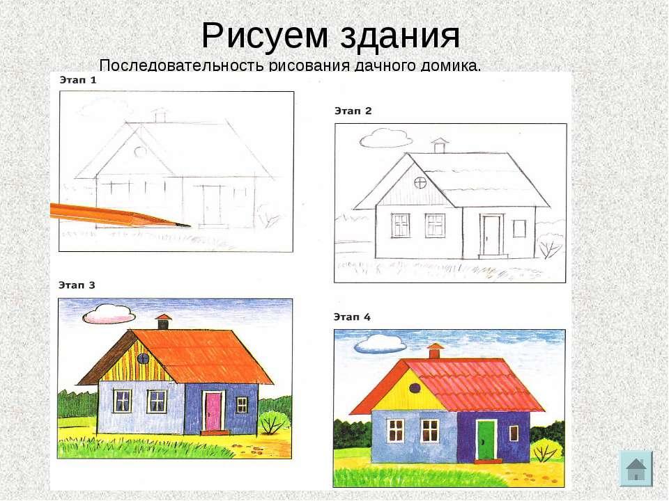 Рисовать здание поэтапно