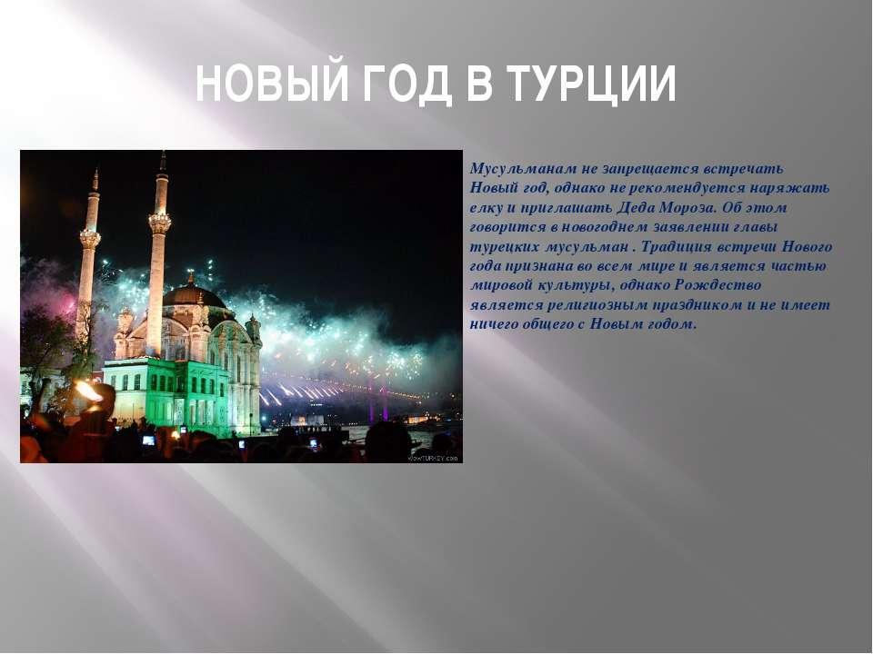 НОВЫЙ ГОД В ТУРЦИИ Мусульманам не запрещается встречать Новый год, однако не ...