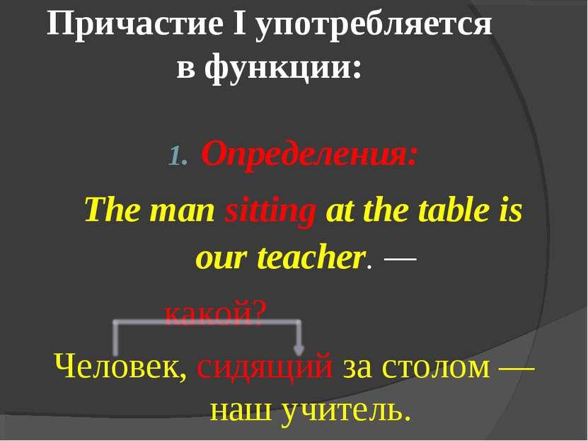 Причастие I употребляется в функции: Определения: The man sitting at the tabl...