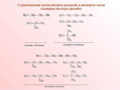 С увеличением числа атомов углерода в молекуле число изомеров быстро растёт.