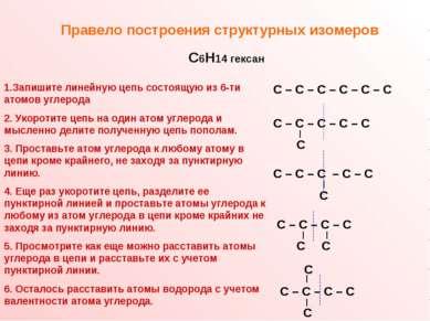 Правело построения структурных изомеров С – С – С – С – С – С С – С – С – С –...