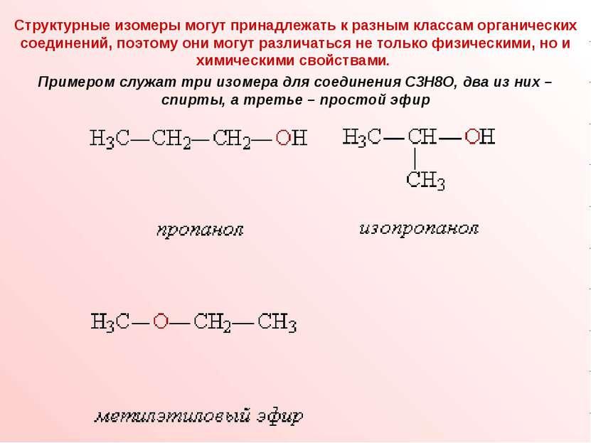 Структурные изомеры могут принадлежать к разным классам органических соединен...