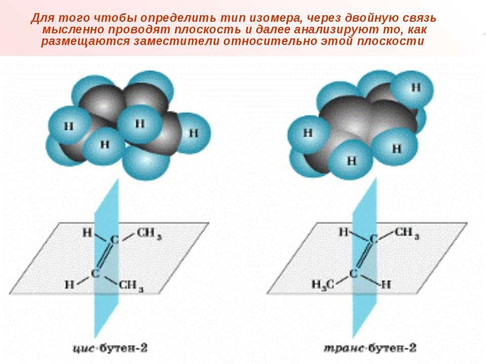 Для того чтобы определить тип изомера, через двойную связь мысленно проводят ...