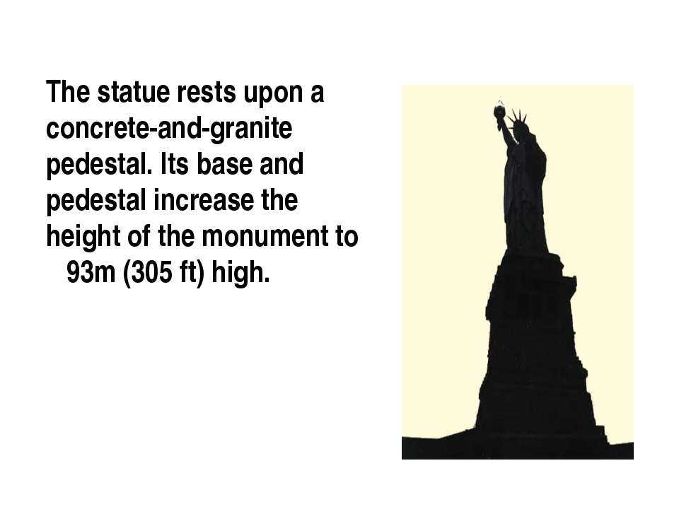 The statue rests upon a concrete-and-granite pedestal. Its base and pedestal ...
