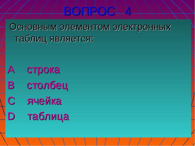 ВОПРОС 4 Основным элементом электронных таблиц является: А строка В столбец С...
