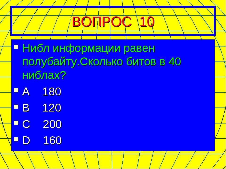 ВОПРОС 10 Нибл информации равен полубайту.Сколько битов в 40 ниблах? А 180 В ...