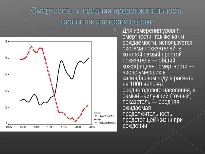 Для измерения уровня смертности, так же как и рождаемости, используется систе...
