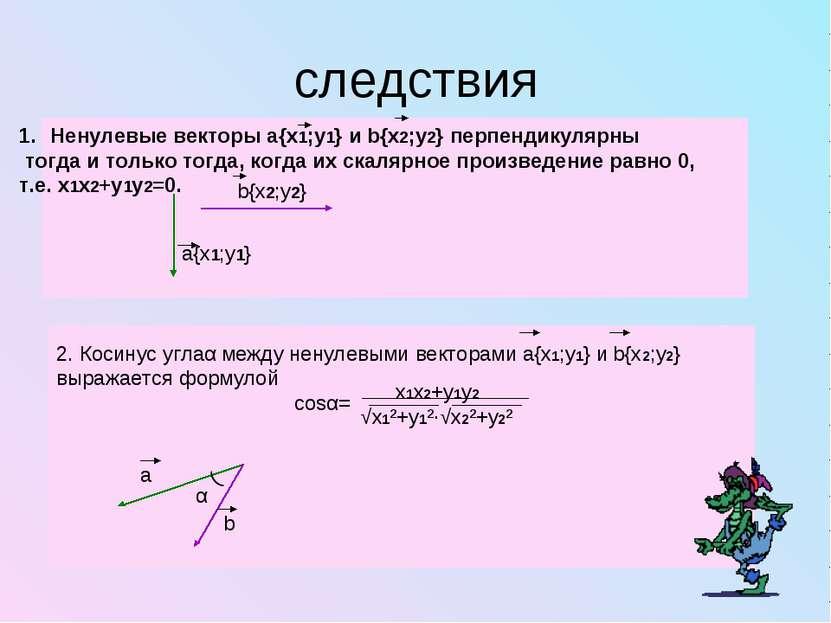 следствия Ненулевые векторы а{x1;y1} и b{x2;y2} перпендикулярны тогда и тольк...