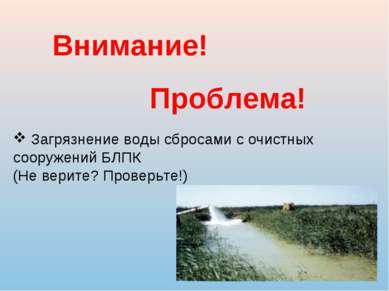 Внимание! Проблема! Загрязнение воды сбросами с очистных сооружений БЛПК (Не ...