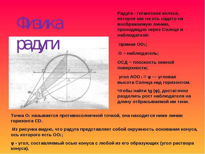 Физика радуги Радуга - гигантское колесо, которое как на ось надето на вообра...