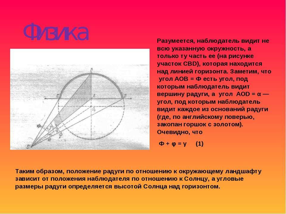 Физика радуги Таким образом, положение радуги по отношению к окружающему ланд...