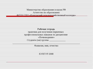 Министерство образования и науки РФ Агентство по образованию ФГОУ СПО «Кунгур...