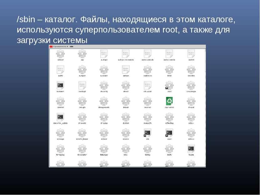 /sbin – каталог. Файлы, находящиеся в этом каталоге, используются суперпользо...