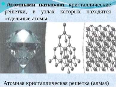 Атомными называют кристаллические решетки, в узлах которых находятся отдельны...