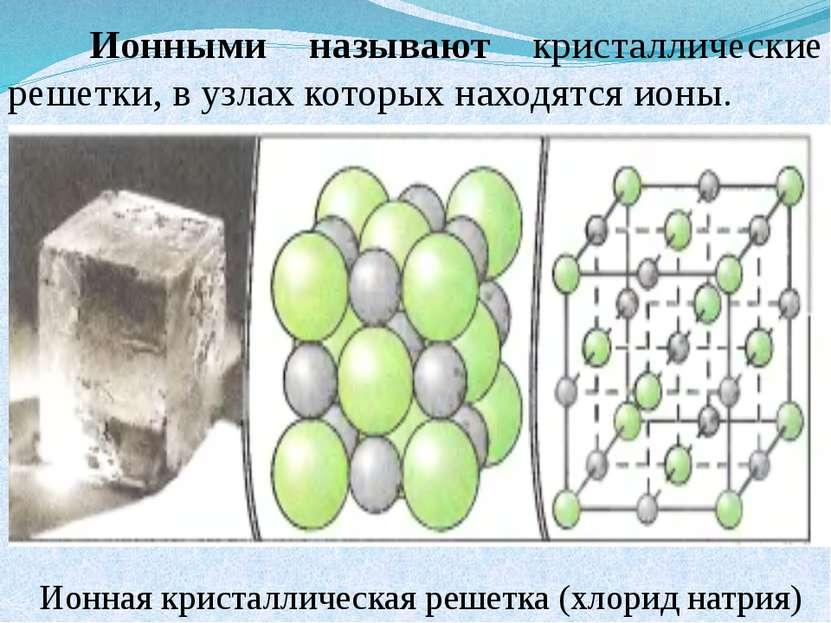 Ионными называют кристаллические решетки, в узлах которых находятся ионы. Ион...