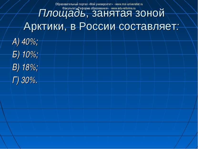 Площадь, занятая зоной Арктики, в России составляет: А) 40%; Б) 10%; В) 18%; ...