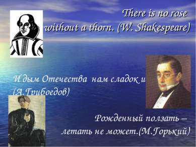 There is no rose without a thorn. (W. Shakespeare) И дым Отечества нам сладок...