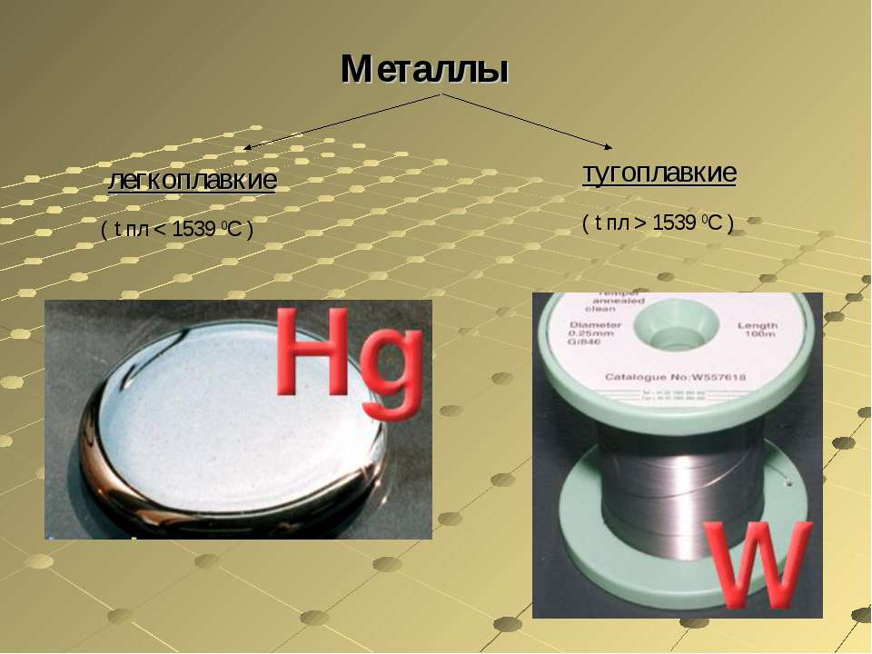 Металлы легкоплавкие тугоплавкие ( t пл < 1539 0С ) ( t пл > 1539 0С )