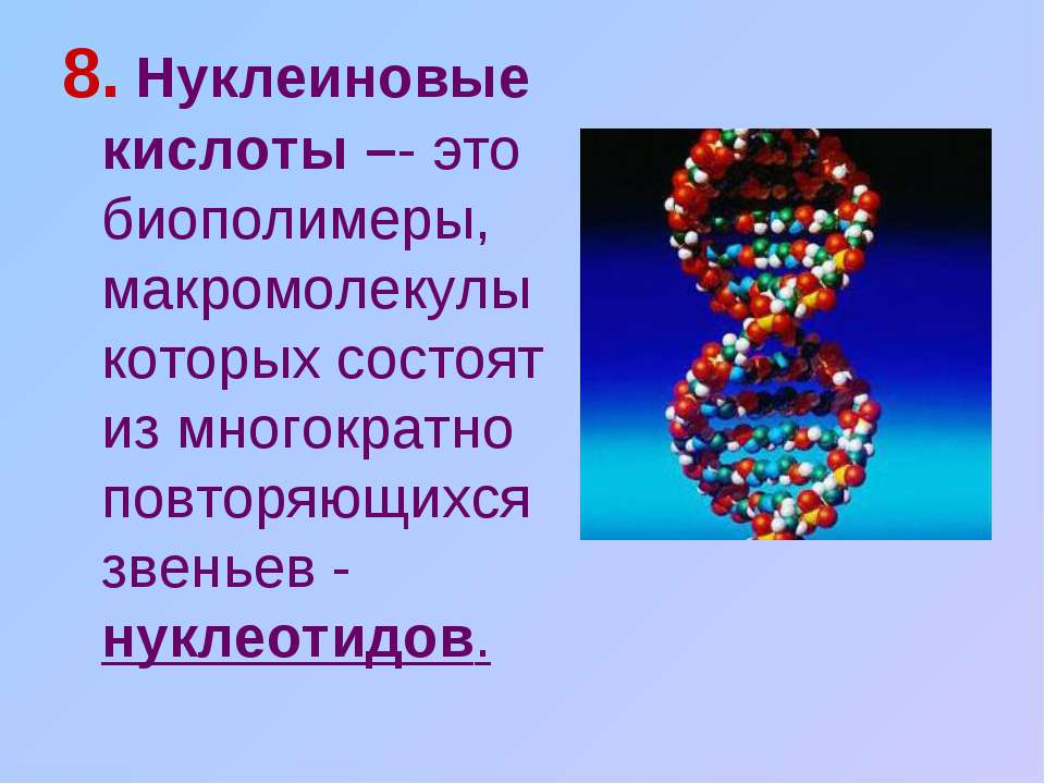 8. Нуклеиновые кислоты –- это биополимеры, макромолекулы которых состоят из м...