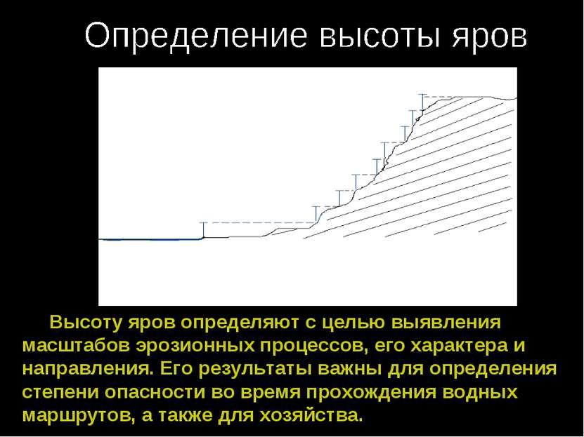 Высоту яров определяют с целью выявления масштабов эрозионных процессов, его ...